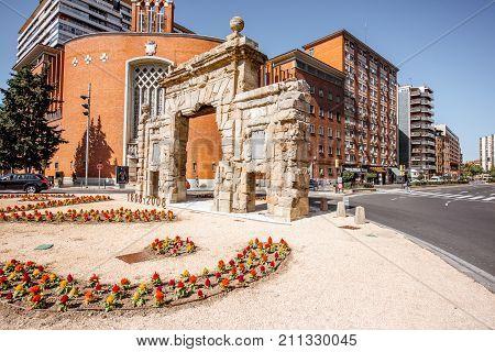ZARAGOZA, SPAIN - August 20, 2017: View on the gate of Carmen, ancient gate of Zaragoza city in Spain