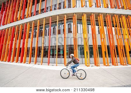ZARAGOZA, SPAIN - August 21, 2017: View on the colorful fasade of pavilion of international exposition held in 2008 in Zaragoza, Spain