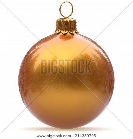 Christmas ball golden yellow bauble decoration closeup New Year's Eve hanging adornment polished traditional Merry Xmas wintertime ornament luxury sparkling. 3d rendering illustration