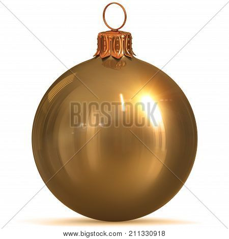 Golden Christmas ball decoration gold yellow New Year's Eve hanging bauble adornment traditional Merry Xmas wintertime ornament sparkling polished. 3d rendering illustration