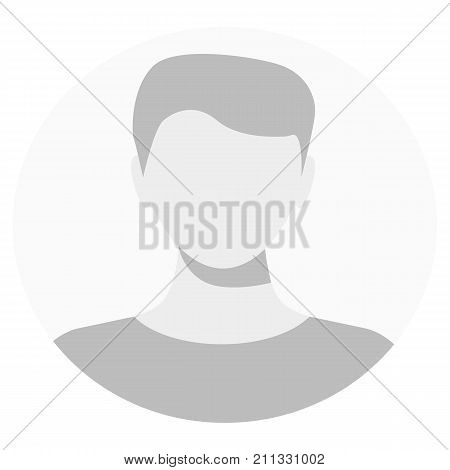 Default avatar profile icon. Grey photo placeholder. Male Default Profile. Gray Person Picture Isolated On White Background. Good Man Headshot For Your User Web Design. Vector illustration poster