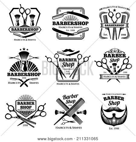 Retro barber shop vector badges. Modern haircut salon labels and hairdresser emblems. Illustration of barber shop emblem and hairdresser salon badge