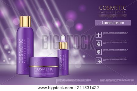 Hydrating facial skincare set for annual sale or festival sale. Purple and gold skincare set mask bottle isolated on glitter particles background. Moisturizing cosmetic product ad. realistic 3d vector