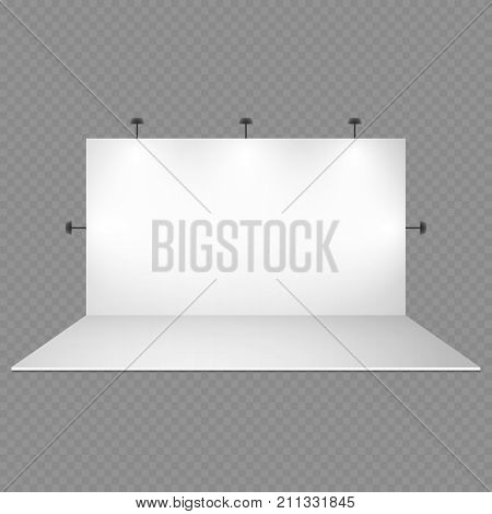 Blank white trade show booth with lighting isolated on transparent background. Empty show studio interior illuminated with screen for photography. Vector illustration