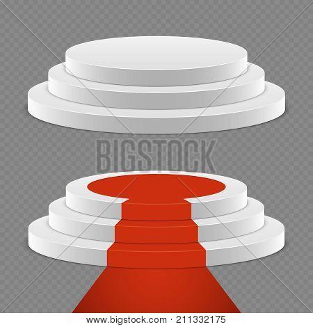 Realistic pedestal set - 3d pedestal with red carpet. Podium platform for award, vector illustration