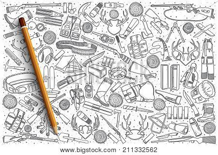 Hand drawn hunting shop vector doodle set background