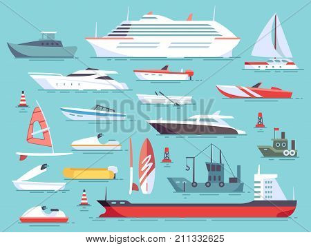 Big set of sea boats and little fishing ships. Sailboats flat vector icons. Illustration of water transport yacht and ship sailboat