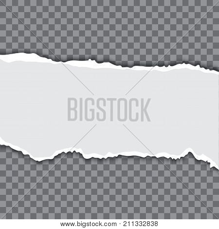 Torn paper with teard edges realistic vector illustration, white paper piece on transparent background.