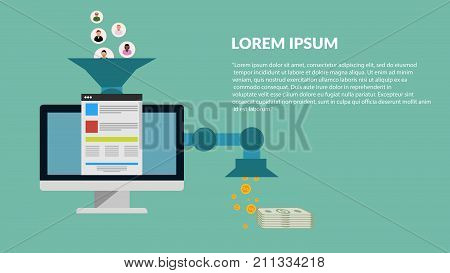Sales Funnel Optimization Web Concept Vector Eps 10 Banner
