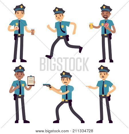 Officer policeman vector cartoon characters isolated. Patrol cops for police concept. Police officer person, character security in uniform and cap illustration