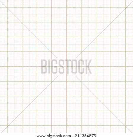 Yellow architect graph paper repeat vector grid. Page graph technical line, millimeter measure graphing illustration