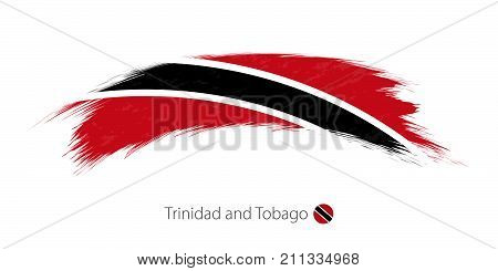 Flag Of Trinidad And Tobago In Rounded Grunge Brush Stroke.