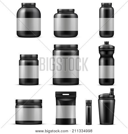 Sport food containers. Protein powder container and plastic drink bottle set isolated. Vector set of protein sport nutrition illustration