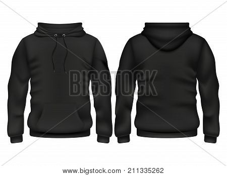 Front and back black hoodie vector template. Sweatshirt fashion with hoodie for sport and urban style illustration