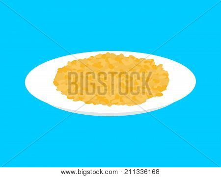 Bulgur Cereal In Plate Isolated. Healthy Food For Breakfast. Vector Illustration