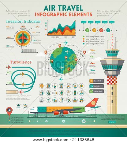Air travel infographic elements with airplane control tower and design elements.