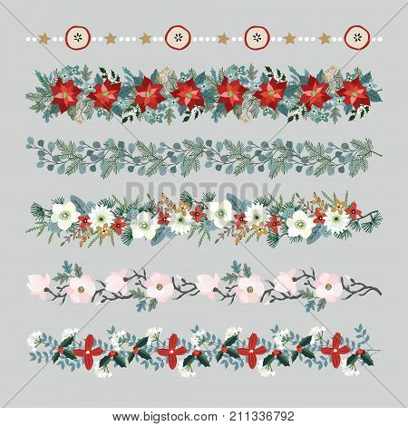 Set of Christmas borders, strings, garlands or brushes. Party decoration with fir and eucalyptus tree branches, poinsettia, magnolia flowers, holly berries, dried apples and stars, isolated vectors.