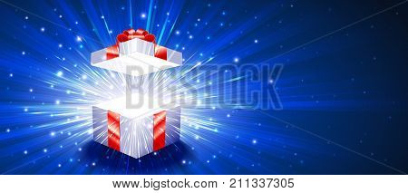 Greeting package with red bow knot. Open gift box with exploding firework of glitters and light rays. Vector banner leaflet flyer greeting card for congratulations of Christmas New Year Birthday