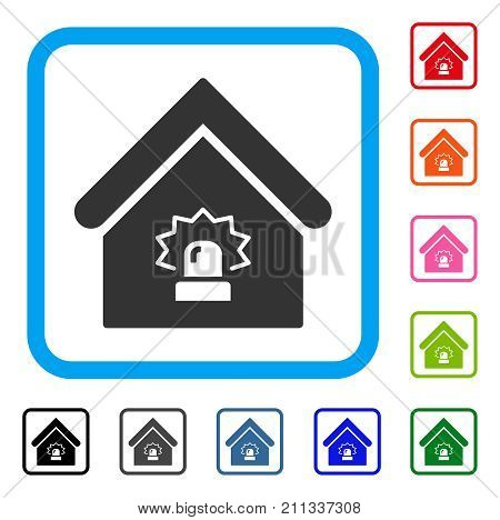 Realty Alarm icon. Flat gray iconic symbol in a blue rounded frame. Black, gray, green, blue, red, orange color additional versions of Realty Alarm vector. Designed for web and software UI.
