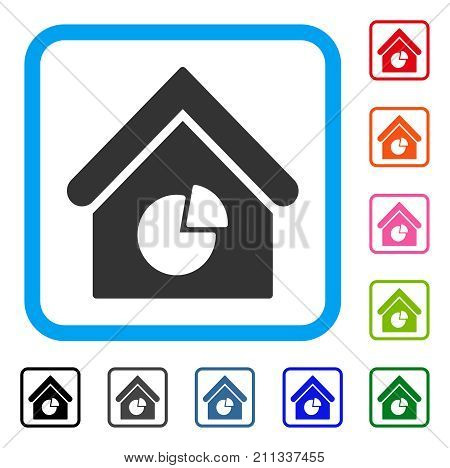 Realty Pie Chart icon. Flat grey iconic symbol in a blue rounded frame. Black, gray, green, blue, red, orange color versions of Realty Pie Chart vector. Designed for web and software user interface.