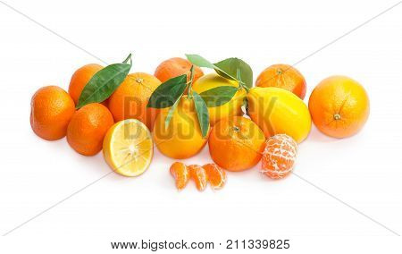 Pile of freshly harvested mandarin oranges lemons and oranges with small twigs and leaves and peeled mandarin orange on a white background