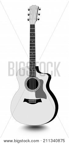Guitar isolated monochrome drawing with shadow on white background, Vector EPS 10