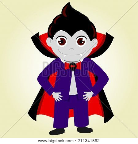 A cute dracula Halloween costume. A boy in a vampire costume draculas. His costume consists of a pale grimma a stylish hairstyle a black vampire robe and a blue tuxedo with a butterfly