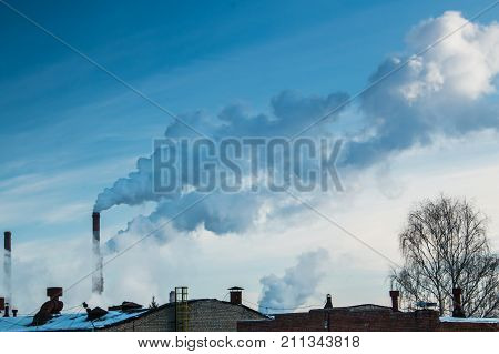 Industrial Zone And Smoke Pipes, Heat Loss Winter, Environmental Pollution
