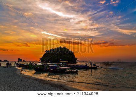 Sunrise Longtail Boats Krabi, Thailand