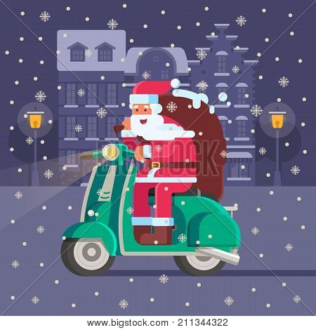 Santa Claus riding winter scooter on snowy Europe city background. Christmas motor bike with Father Frost delivering presents. Xmas bike congratulation card template.