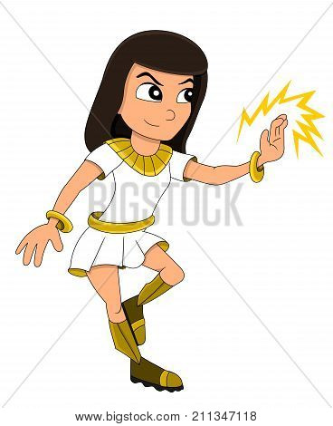 Illustration of an Egyptian-themed superhero girl or fantasy priestess isolated on a white background