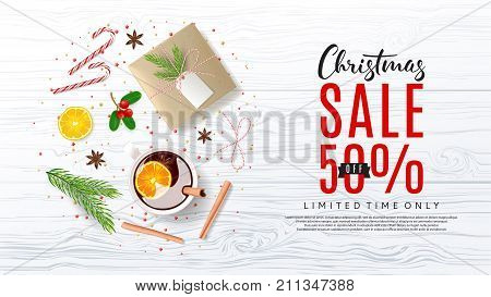 Promo Web Banner for Christmas Sale. Vector Illustration with Discount Offer. Top View on Festive Decoration with Paper Gift Box for Happy New Year. Greeting Card with Lettering.