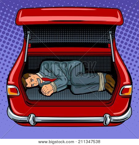 Kidnapped man in the car trunk pop art retro vector illustration. Comic book style imitation.
