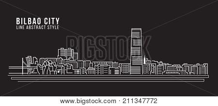 Cityscape Building Line art Vector Illustration design - Bilbao city