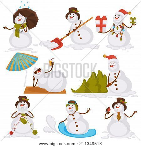 Christmas snowman Santa cartoon character icons for New Year greeting card design template. Vector isolated snowman on winter or summer holiday vacations, knitting sock and skiing on snowboard