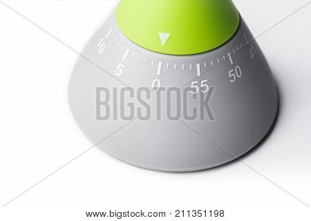 0 Minutes / 1 Hour - Analog Kitchen Egg Timer Isolated On White Background With Shadow