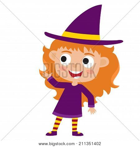 vector set of cute cartoon kid in colorful halloween costume witch cartoon character design