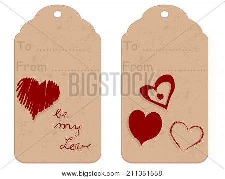 Brown retro gift tag with red hearts