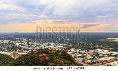 Aerial View Of Rapidly Sprawling Gaborone City Spread Out Over The Savannah, Gaborone, Botswana, Afr