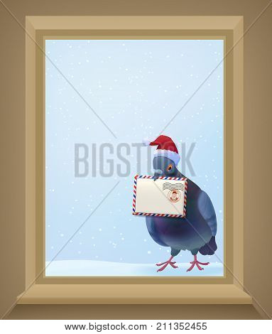 Christmas post pigeon in red hat holding mail envelope and knocking on window on winter background vector illustration