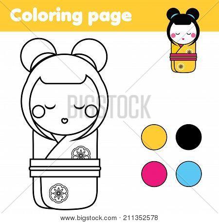 Coloring page with japanese kokeshi doll. Color the picture. Educational children game drawing kids activity printable sheet