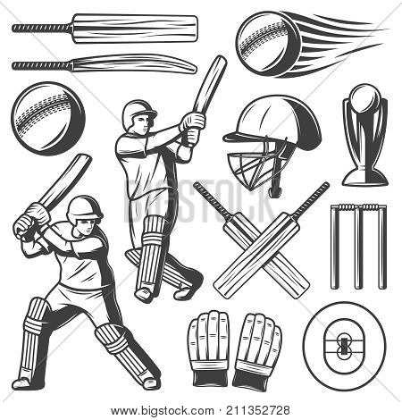 Vintage cricket elements collection with players wicket and sport equipment in hand drawn style isolated vector illustration