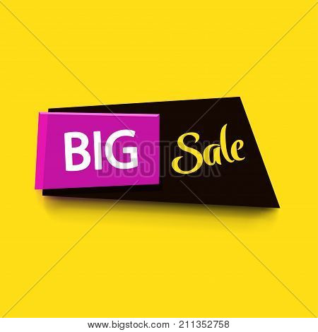 illustration of bright colored banner woth soft shadow on yellow background