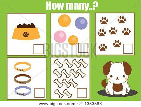 Counting educational children game math kids activity sheet. How many objects task. Learning mathematics numbers addition theme