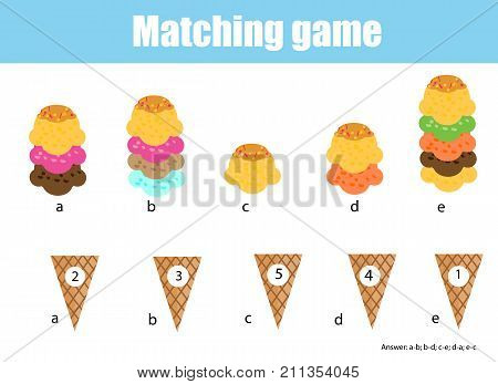 Math educational game for children. Matching mathematics activity. Counting game for kids. Match ice cream with cone