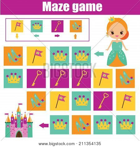 Maze children game: help princess go through the labyrinth and find castle. Kids activity sheet. Logic game with code and cipher navigation