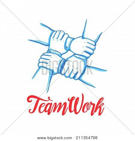 Team building concept. Stack of business hands. Cooperation Teamwork, Group, Partnership, Team buidding. Hand drawn line art cartoon vector illustration.