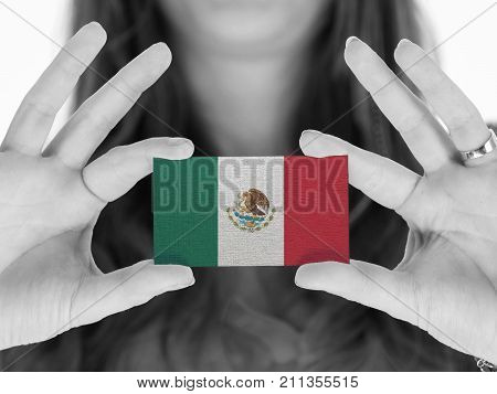 Woman Showing A Business Card - Mexico
