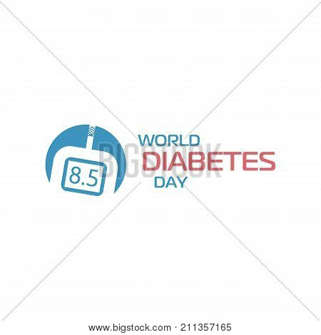 World diabetes day sign. Glucose meter medical device, blood glucose monitoring, determining concentration. Vector logo
