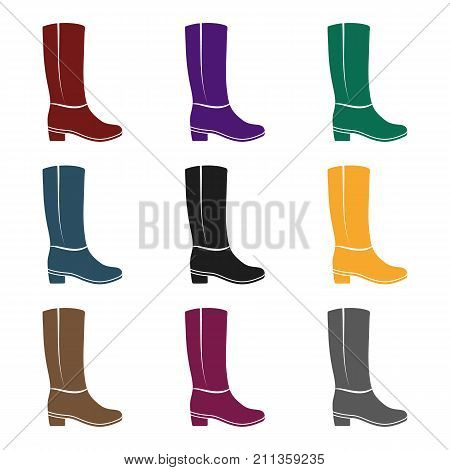 Knee high boots icon in  black style isolated on white background. Shoes symbol vector illustration.